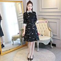 새로운 도착 블랙 여성의 미니 치파오 패션 중국어 짧은 스타일의 드레스 봄