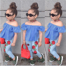 все цены на Summer Fashion Baby Girl Clothes Sets Cotton Kids Off Shoulder T Shirt Tops+Jeans 2PCS Children Clothing Set 2 3 4 5 6 7 Years онлайн