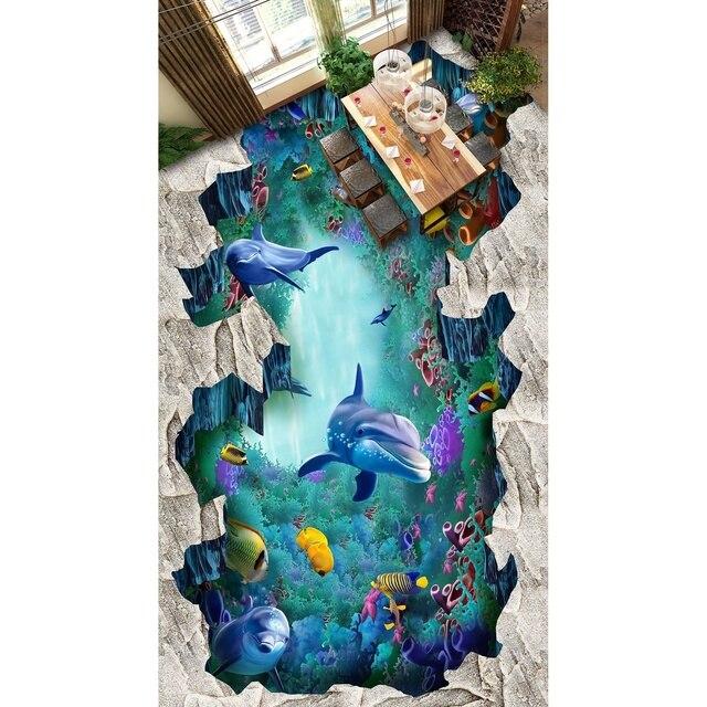 Böden Eigene Wandaufkleber 3D Sea Welt Kunst Boden Aufkleber Lotusf Bad  Bodenbelag Malerei Foto Wallpaper Für