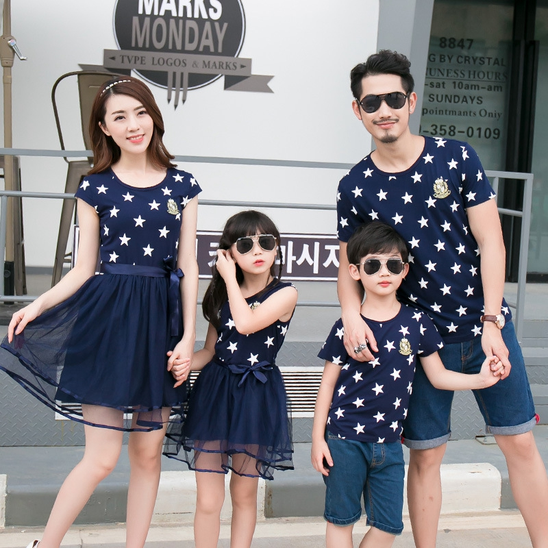 Summer Cotton Family Matching Outfits Mom And Daughter Mesh Dress Dad Son Blue White Stars Short T-shirt Children Clothing