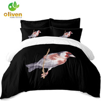 Bird Painting Bedding Set Chinese Style Duvet Cover Set Pillowcase Soft Bedclothes 3Pcs Quilt Cover Five Color Selection D25
