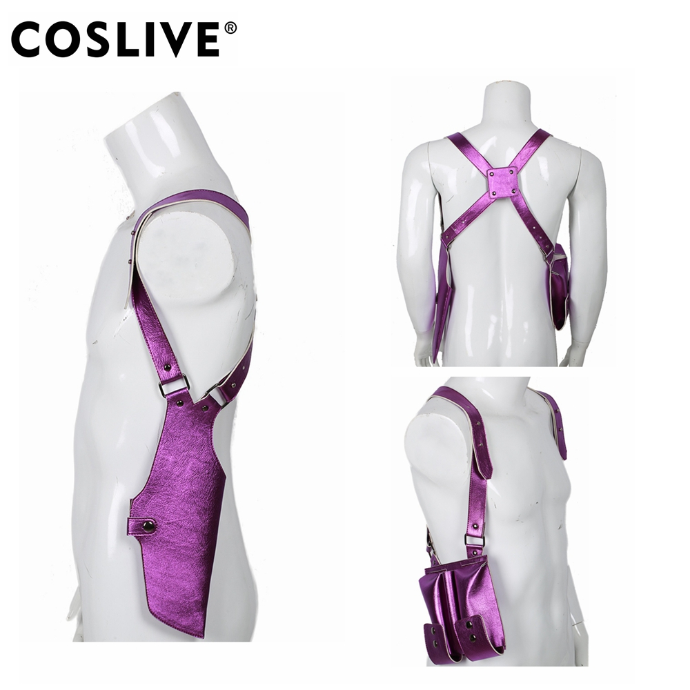 Coslive <font><b>Suicide</b></font> Squad Movie Cosplay Joker Dark Purple Holster & Gun Case with High Reducibility Props For Unisex Adult image