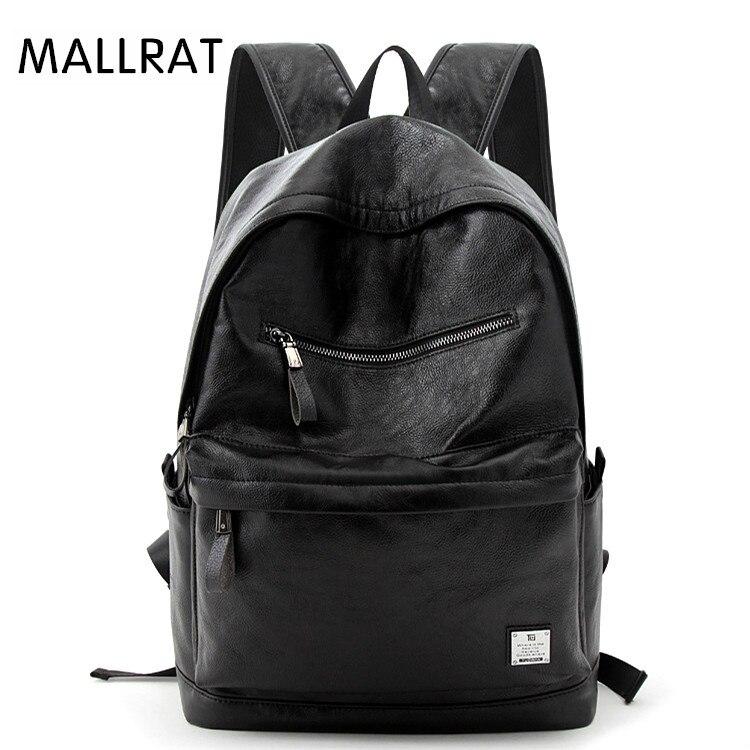 MALLRAT Men's Backpack Leather Backpacks Male College School Backpacks For Teenager Quality Laptop Backpack Black Bagpack