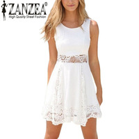 Summer Style 2015 Elegant Women Casual Solid Lace Strapless White Dress Sexy Ladies A Line Short