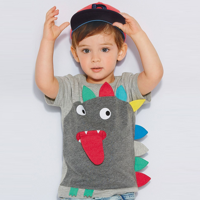 retail gray boy T-shirts cartoon colorful dinosaur monster children kids clothes boy tops tees boy summer korean kids clothing