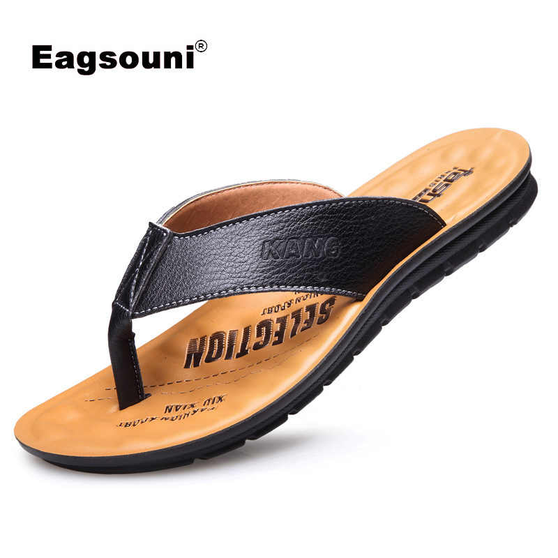 2019 Brand Summer Men slippers Male genuine leather Flip Flops for man vintage Casual Beach Sandals Non-slide Zapatos Shoes