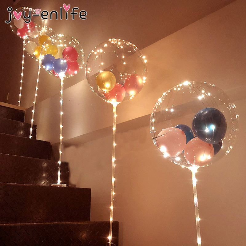 1set Balloons Column Stand Arch Stand Home Party LED Confetti Balloons with Base Clips Wedding Decoration Balloon Holder Stick(China)