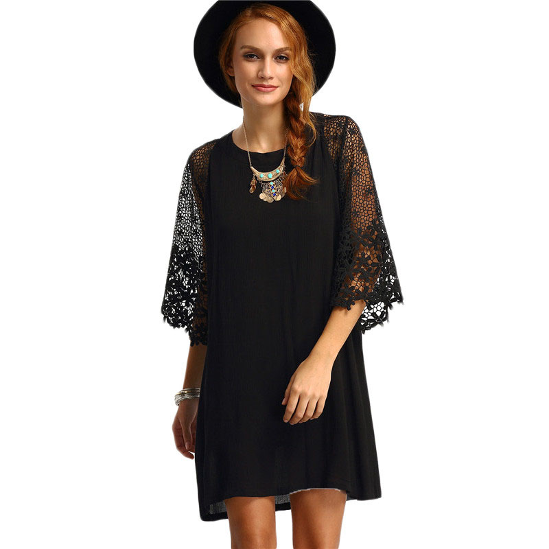 Womens Summer Shift Dresses Ladies Black Hollow Out Crochet Three Quarter Length Sleeve Round Neck Casual Tunic Dress