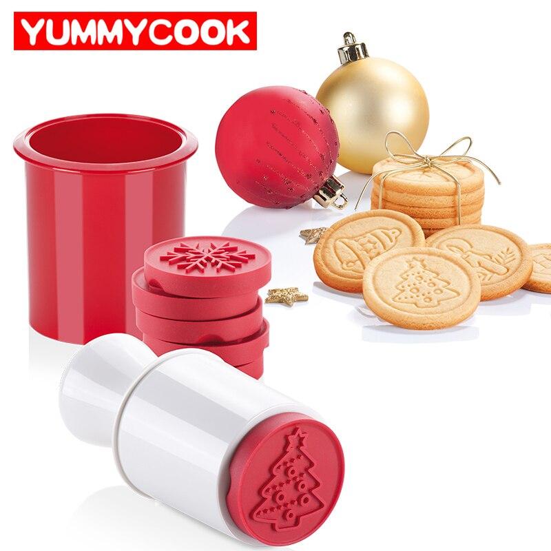 6 unids/set sellos de dibujos animados moldes Navidad árbol Cookie herramientas Cake decoración Bakeware cocina Gadgets Accesorios suministros producto