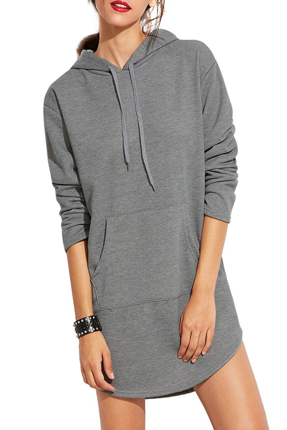 2018 New Design Hoodies Spring and Summer Long-sleeved Hooded Sweatshirts Polyester Slot Pocket Solid Sweatshirts for Female