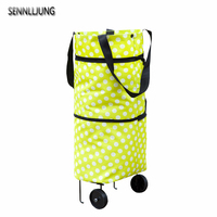 SENNLLJUNG Oxford Folding Shopping Cart Bag With Wheels Trolley Bags Travel Storage Package Handbag Organizer Shopping Cart