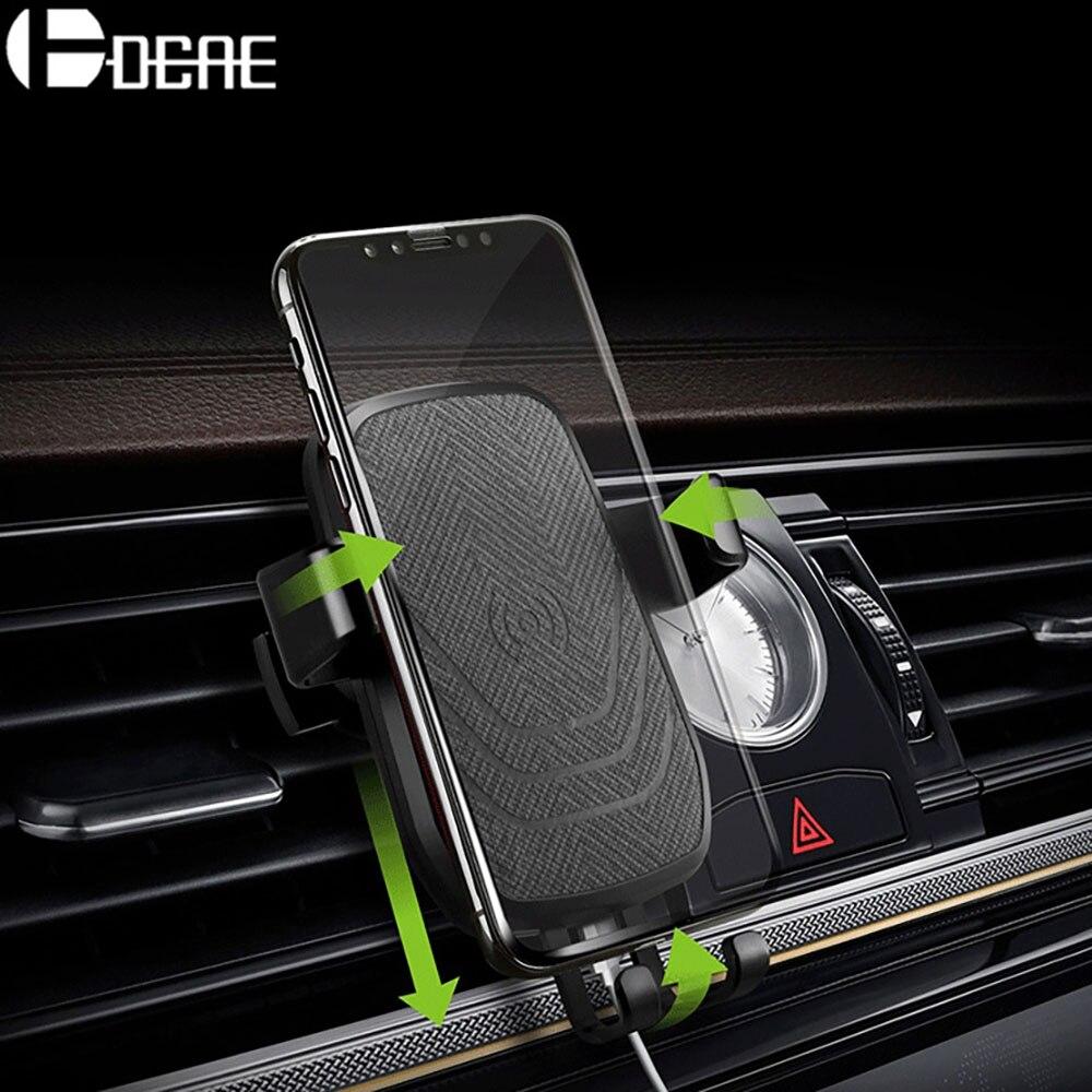 DCAE QI Auto Drahtlose Ladegerät Air Vent Halter Pad Für iPhone X Xs Max 8 Plus Xr 10 watt Schnelle lade Telefon Halter Für Samsung S8 S9