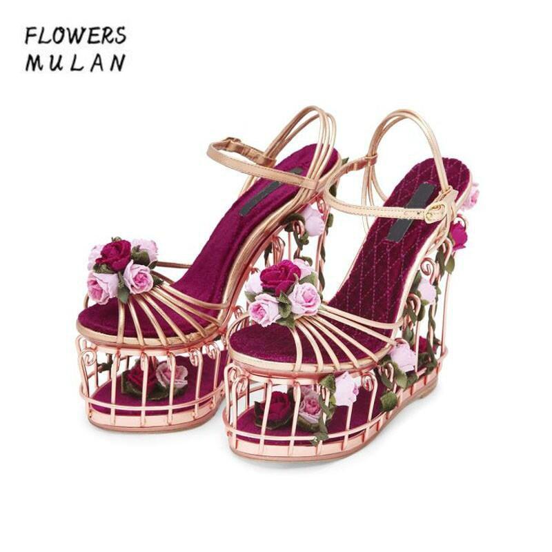 Top Qualité Plate-Forme Chaussures D'été Femmes Creux Compensées Rose et Feuilles Cloutés Sandales De Mariage/Partie Chaussures 17 cm Super haute Talons