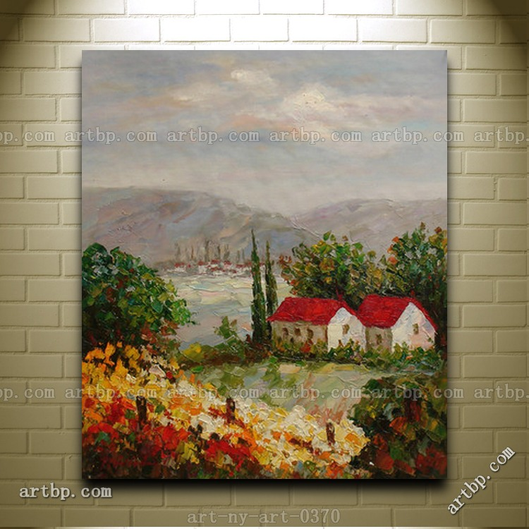 Handpainted oil painting of landscape trees house field for Oil paintings of houses