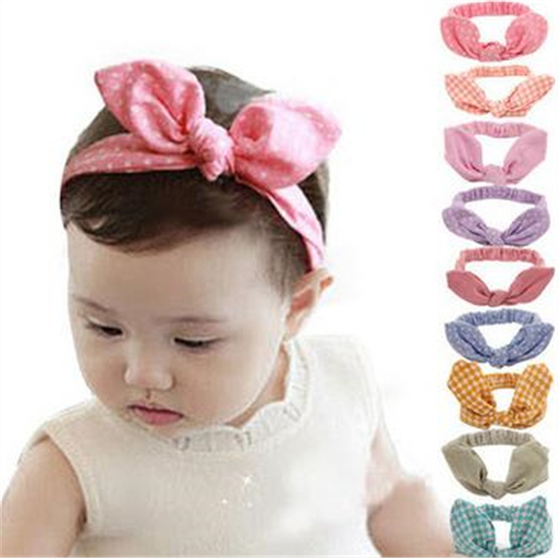 New Cotton Rabbit ears Headband dot knot tie headwrap Vintage Head Wrap Photo Prop stretchy Knot Girls Hair Accessories 2017 new fashionable cute soft black grey pink beige solid color rabbit ears bow knot turban hat hijab caps women gifts
