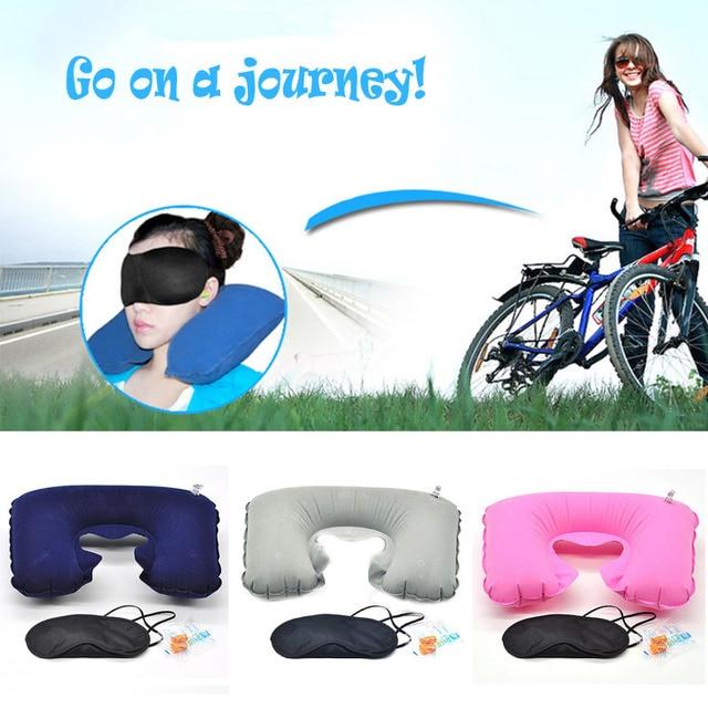 U neck pillow travel pillow Flight Car Pillow Inflatable soft message pillow Neck U Rest Air Cushion+ Eye Mask + Earbuds  5