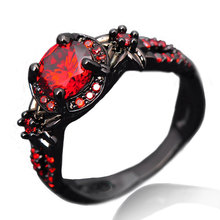 Shiny Red crystal Ring Garnet Women Charming Engagement Jewelry Black Gold Filled Promise Rings Free shipping R-001
