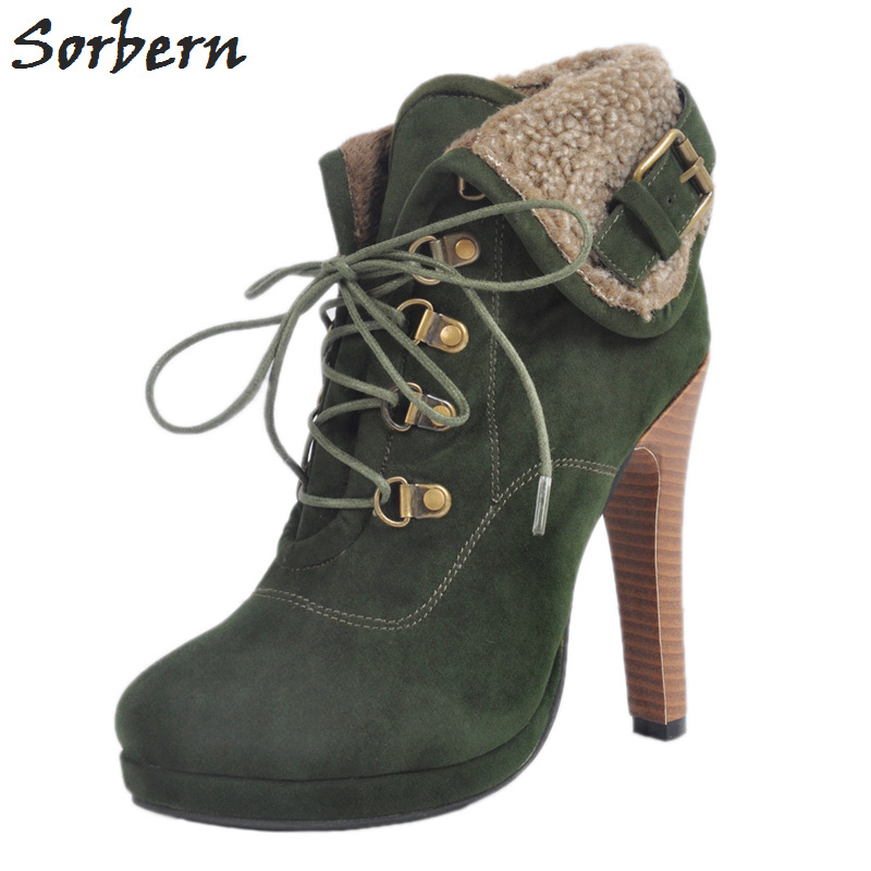 Sorbern Fashion Boots Women Plus Size 34-47 Size Botas Mujer Ankle Boots For Women Boots Women Winter High Heel Boots Lace Up new 2016 fashion women winter shoes big size 33 47 solid pu leather lace up high heel ankle boots zapatos mujer mle f15