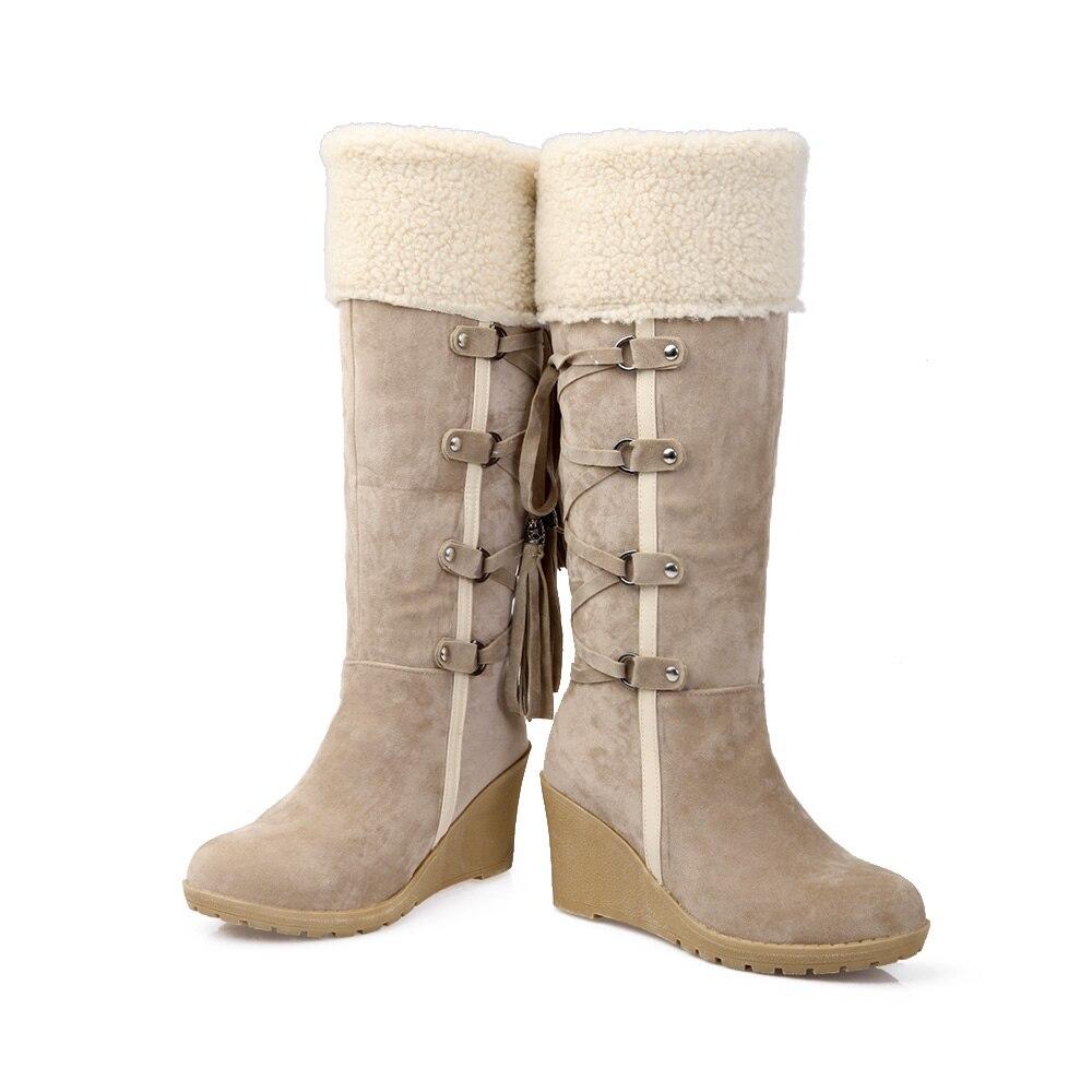 bbcc634f8 AIWEIYi Mulheres Na Altura Do Joelho Botas De Cano Alto Cunha Sapatos de Salto  Alto Cavaleiro Botas de Pele De Neve Botas de Inverno Quente Sapatos de ...