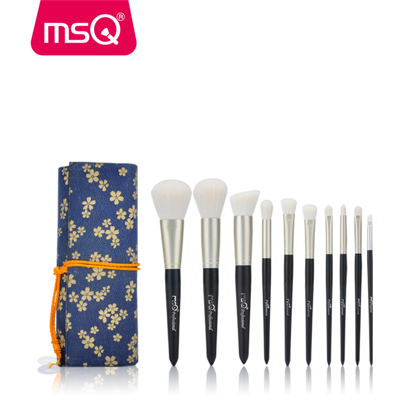 MSQ 10pcs Makeup Brushes Set Powder Foundation Eyeshadow Make Up Brush Cosmetics Kit Soft Goat&Synthetic Hair With Canvas Case