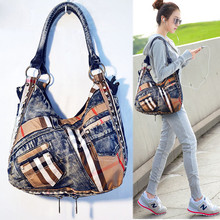 Quality Personalized vintage women's handbag casual denim one shoulder cross-body portable fashion plaid canvas female big bags
