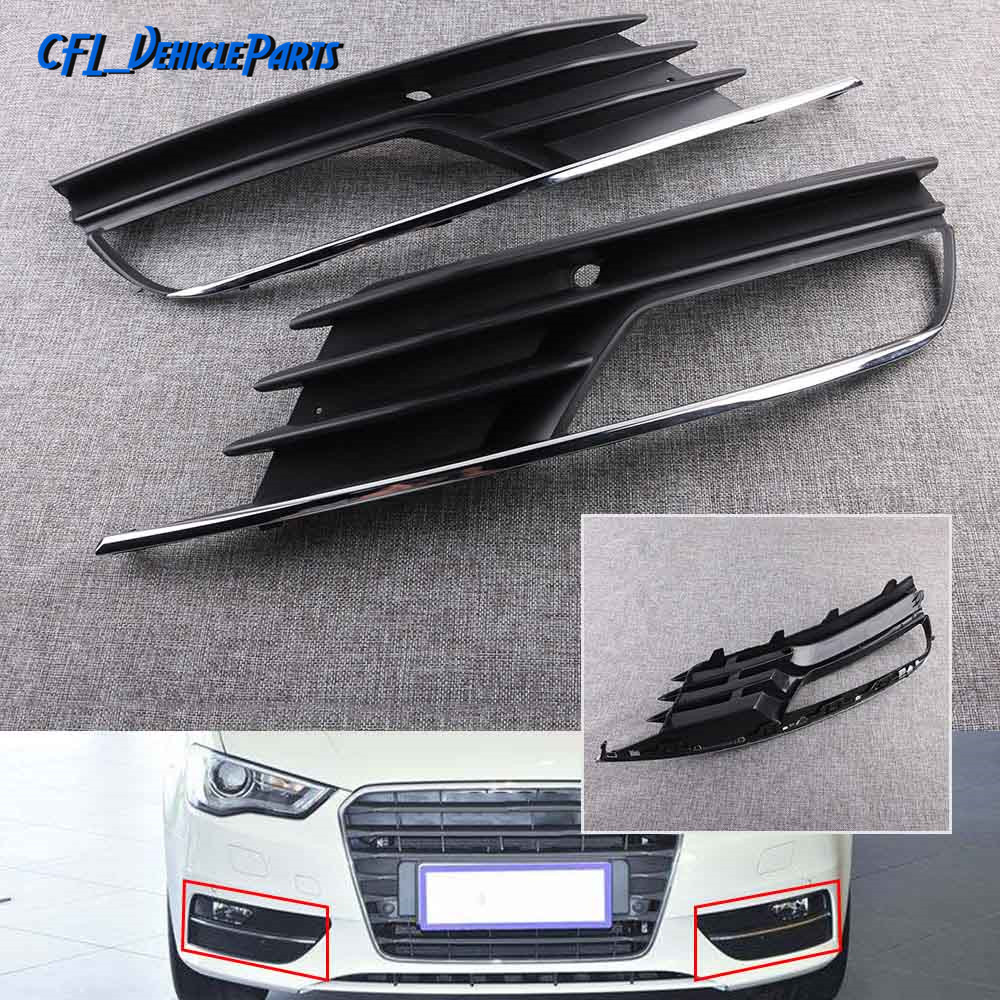 Pair Front Left Right Bumper Fog Light Cover Lower Grille 8V5807681A 8V5807682A For Audi A3 A3