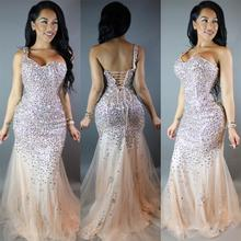 Sexy 2016 Crystals Mermaid Tulle Chiffn Long Prom Dresses Sweetheart Plus Size Champagne Court Train Pageant Party Gowns EE91