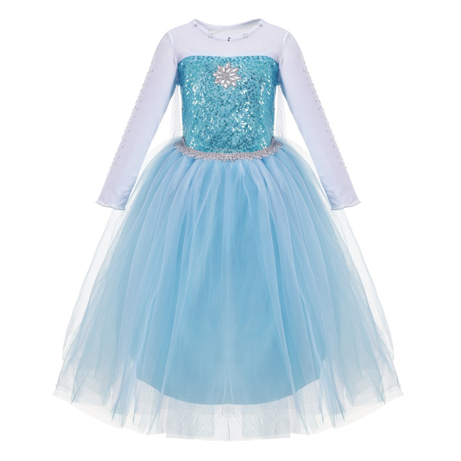 FINDPITAYA Girls Elsa Costume Blue Snow White Princess Dress up with Long Train Halloween Christmas Party Sequined Cosplay