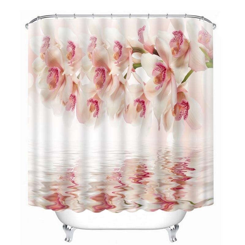 Custom 3D Shower Curtains Pink Rose & White Swan Pattern Bathroom ...