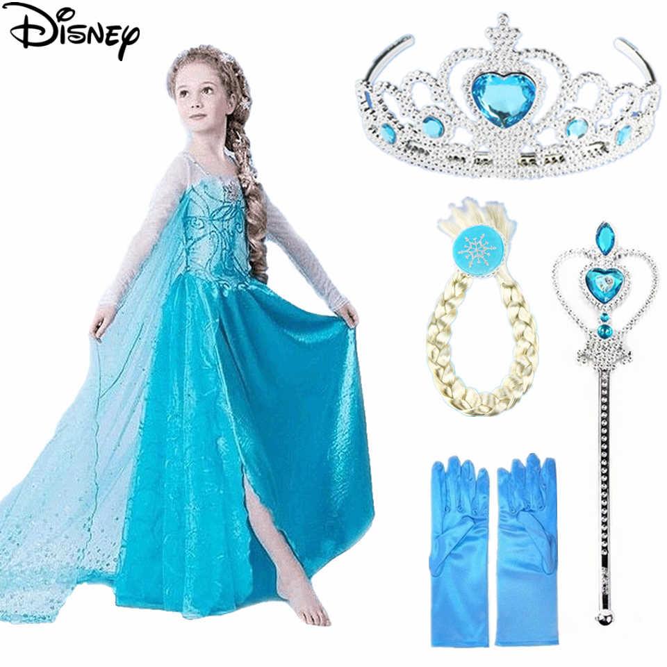דיסני קפוא בנות אלזה תלבושות כחול שלג מלכת נסיכה להתלבש עם ארוך רכבת ליל כל הקדושים חג המולד המפלגה נצנצים קוספליי