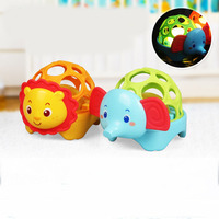 Lovely Animals Baby Rattles With Light Ball Hand Grasping Develop Funny Rattles Educational Toys Gift For