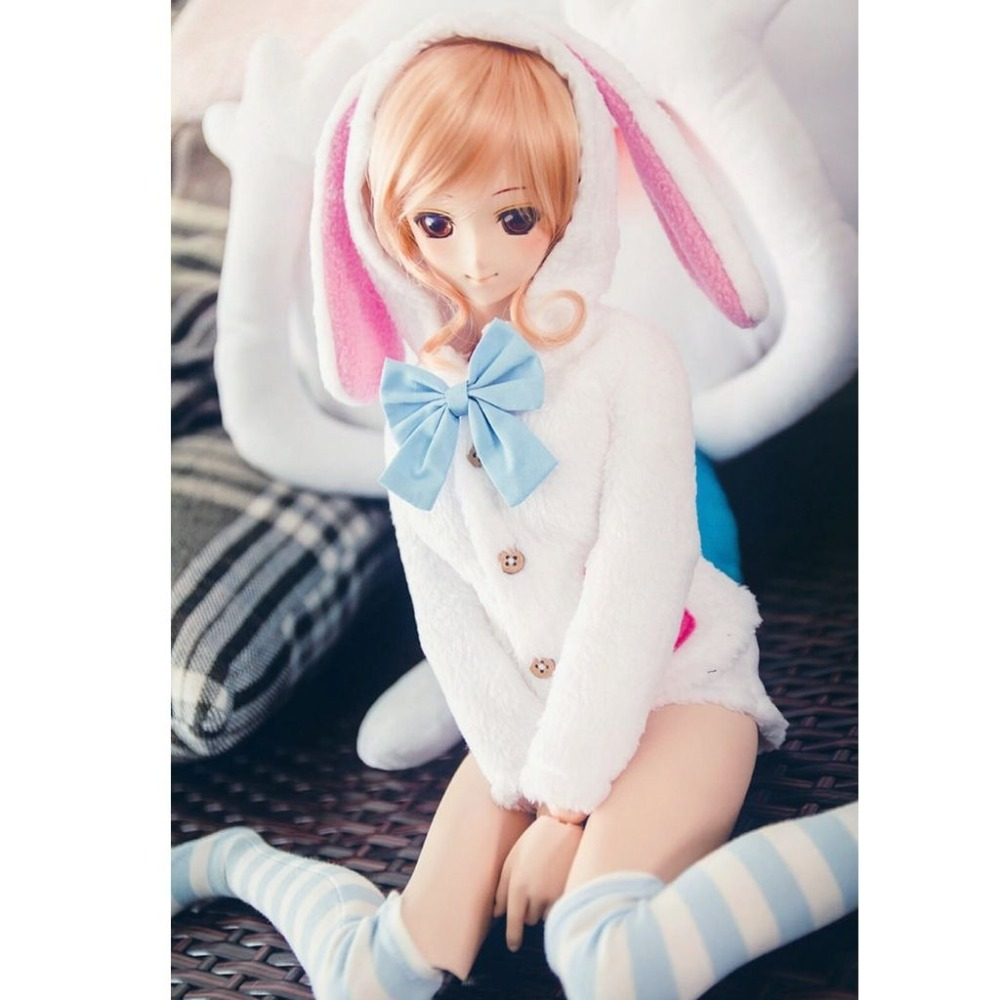 wamami 4pcs White Cute Bunny Coat Shorts Socks Bow Knot For 1 4 MSD DOD