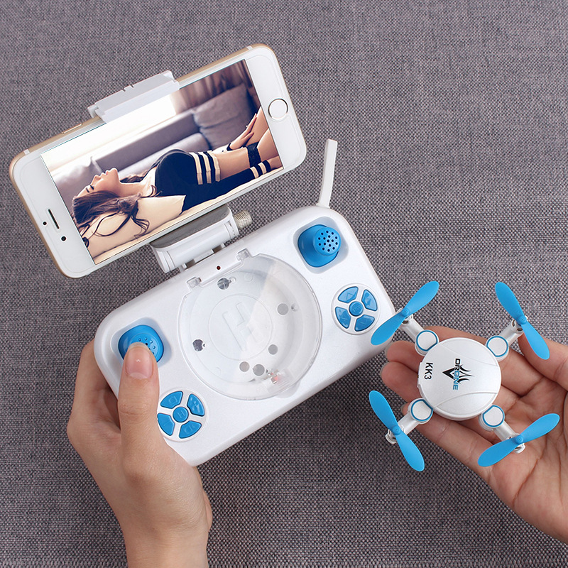 KK3 RC Mini Pocket Selfie Drone 2.4G 3D Foldable Flying Drone with 0.3MP WIFI FPV Camera Rc helicopter for kids birthday gift tracker selfie pocket drone altitude hold foldable mini rc quadcopter wifi camera helicopter headless