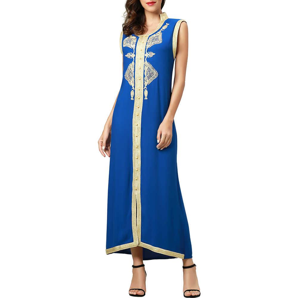 Women islamic clothing Maxi sleeveless long Dress moroccan Kaftan  embroidery dress vintage abaya Muslim Robes gown dcacf1155022