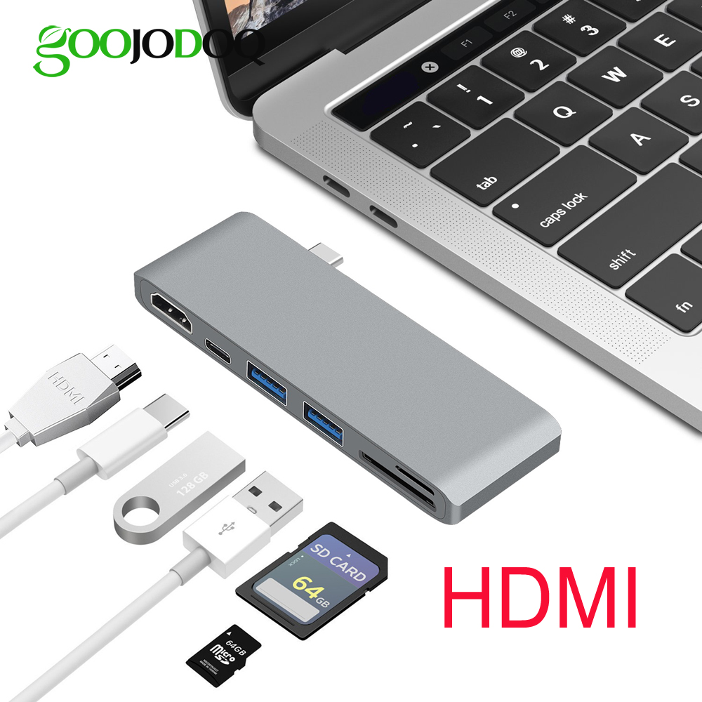 6 in 1 USB C Hub HDMI for Macbook Pro Nintendo Switch Samsung S8 USB-C Hub USB 3.0 Splitter Adapter TF/SD Card Reader Type C new portable mini design charming 3 in 1 card reader usb type c micro usb 3 0 tf sd card reader support type c otg card reader