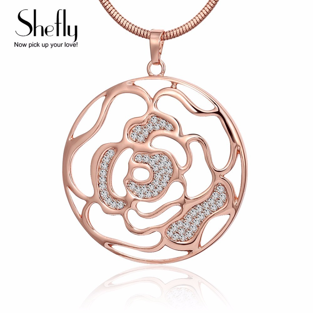 5 CM Round Pendant&Necklace Hollow Flower Heart Rose Gold Color Pendants Necklaces With AAA Cubic Stone Women Jewelry XL08324