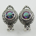 New Rainbow Simulated Topaz Woman 925 Sterling Silver Crystal Earrings TE515