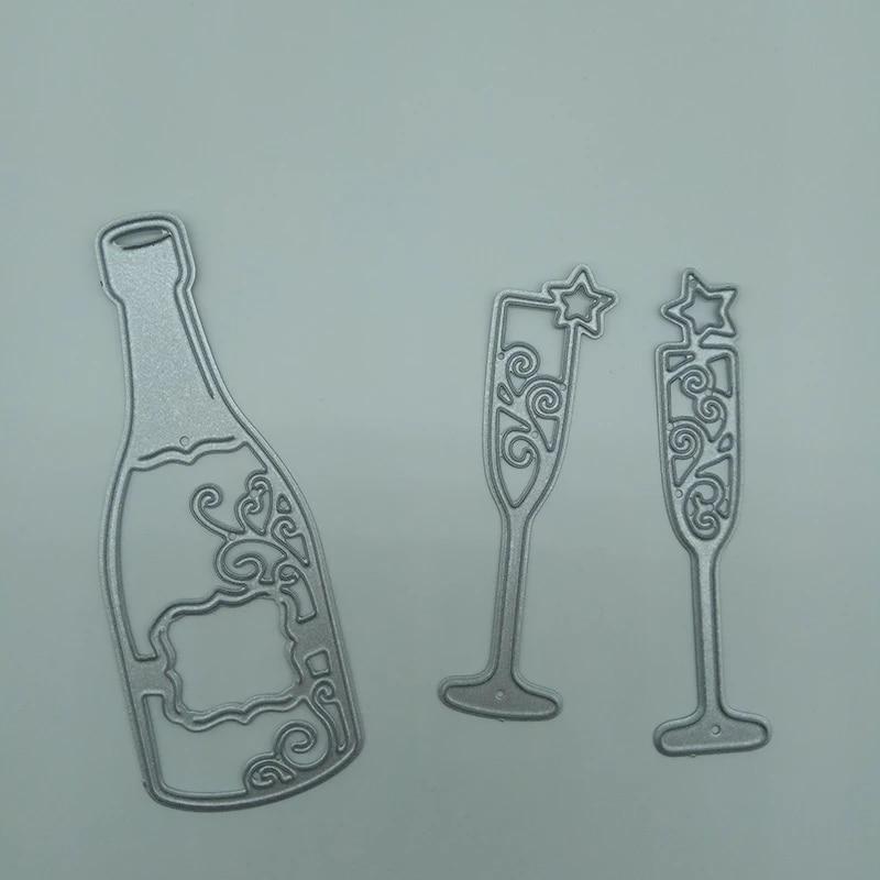 Wine bottle Tag Metal Cutting Dies DIY Scrapbook Paper Cards Crafts Lifelik Ag