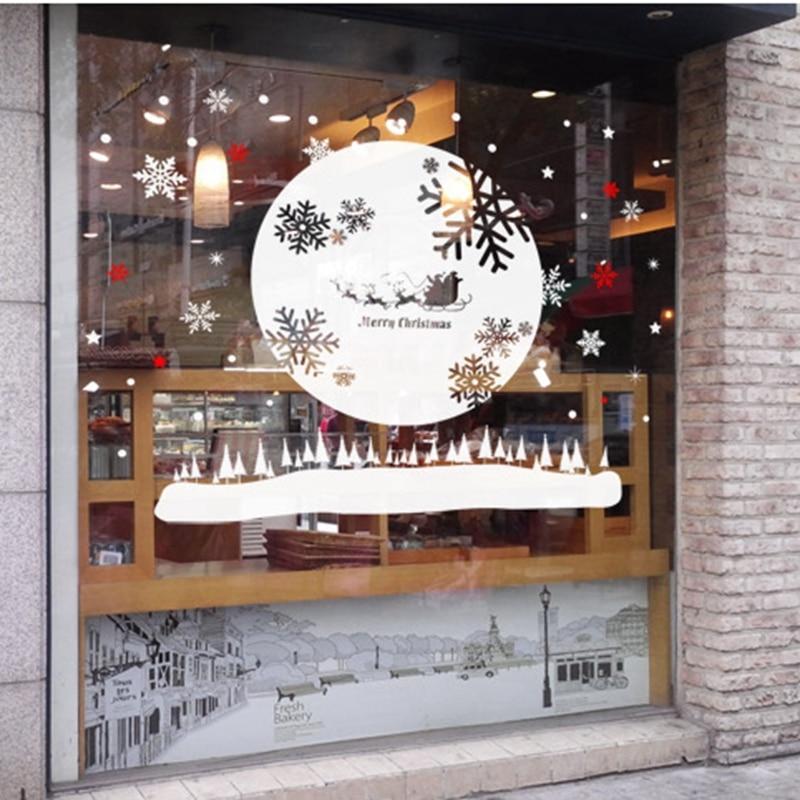 DCTAL Рождество Стикеры наклейка Плакаты виниловые наклейки на стены росписи декора большой Стекло окна дома магазин украшения X mas наклейка