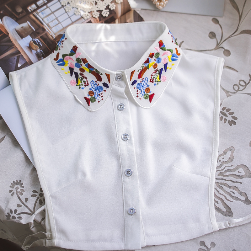 YSMILE Y Korea Style Colorful Embroidery Necklace Collar Autumn Chiffon Half Shirt Sweater False Collar For Lady Girl Women