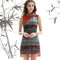 {Liquidação} Verão 2017 Nova Marca Handmade Botão Cheongsam Vestido Tropical Floral Imprimir Boho Vestidos Das Senhoras Do Vintage Das Mulheres