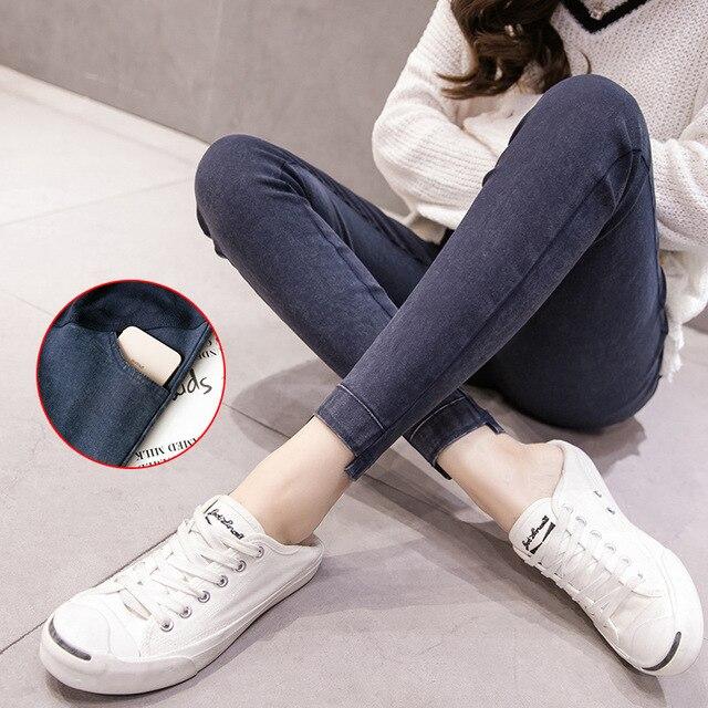 2f0f450f7 Ropa de maternidad pantalones vaqueros para las mujeres embarazadas lápiz  alta primavera ropa Skinny Jeans. Maternity Clothes Denim Jeans For  Pregnant Women ...