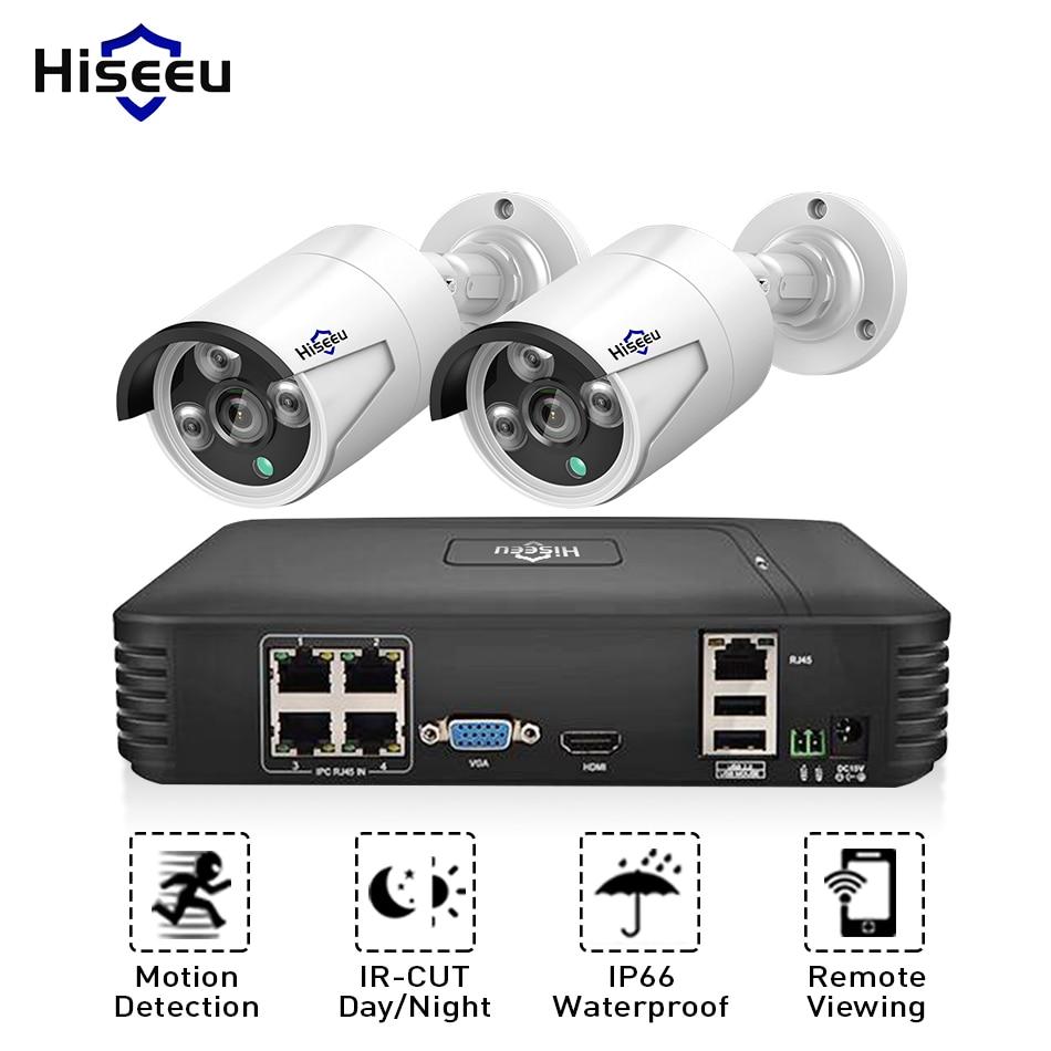 Hiseeu 4CH 1080 P 720 P POE NVR CCTV Системы 2 шт. POE 15 В комплект видеонаблюдения HDMI P2P почтовое аварийное Водонепроницаемый наружного видеонаблюдения