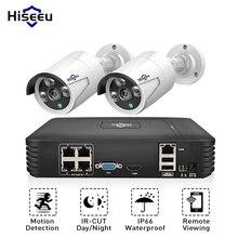 Hiseeu 4CH 1080P POE NVR ระบบกล้องวงจรปิด 2PCS POE 13V ชุดกล้องวงจรปิด HDMI P2P การแจ้งเตือนทางอีเมลกันน้ำการเฝ้าระวังวิดีโอกลางแจ้ง