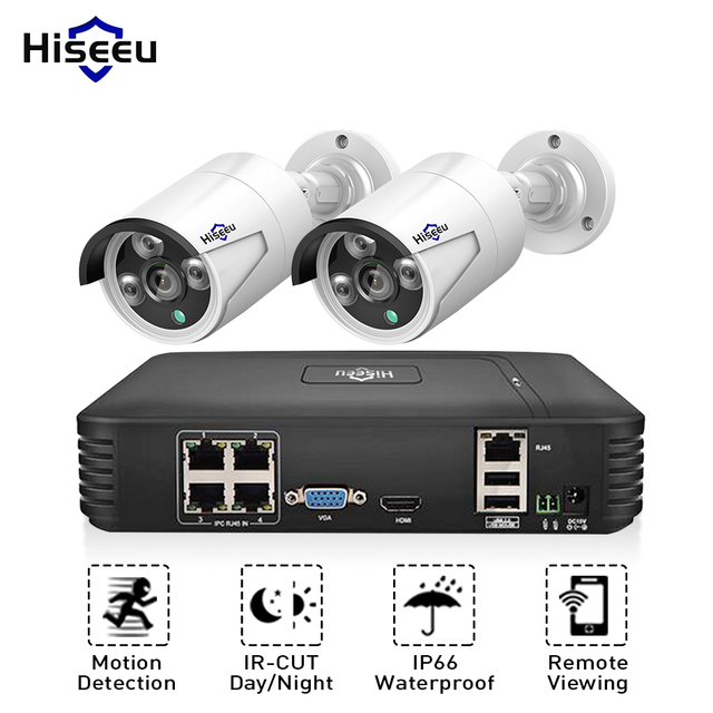 "Hiseeu 4CH 1080P POE NVR CCTV מערכת 2PCS POE 13V CCTV ערכת HDMI P2P דוא""ל מעורר עמיד למים חיצוני מעקב וידאו"
