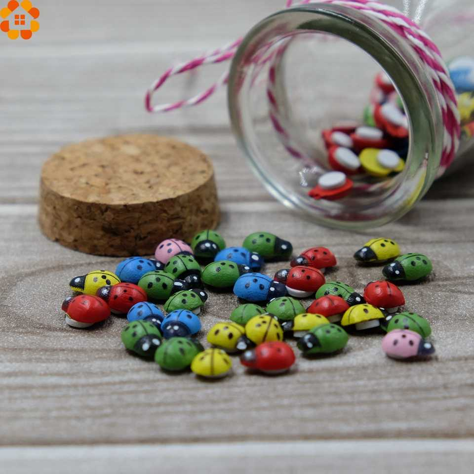 100PCS Colorful Ladybug Wooden 3D Wall Stickers Sponge Self-adhesive Stickers Fridge/Wall Sticker Kids Scrapbooking Baby Toys