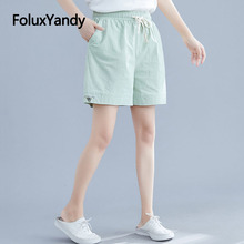 Cotton and Linen Summer Shorts Women Casual Embroidery Solid Loose Wide Leg High Waist NQYL104