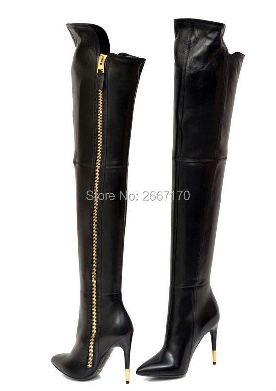 4549ffe247b Women Gold zipper Thigh High Boots Patent Leather High Heels Over ...
