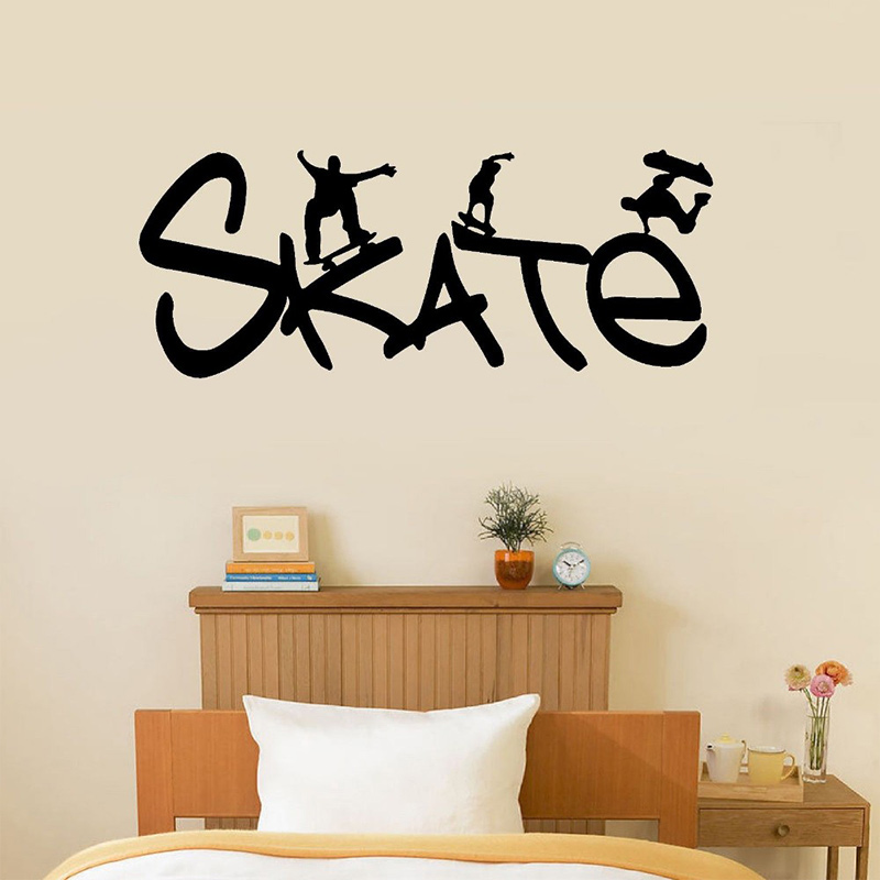 Skate Vinyl Wall Decal Removable Kids Boys Room Decal Skateboarding, Sport Size 55*22cm