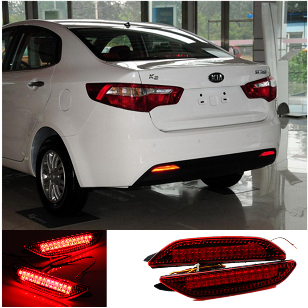 for 2011-2013 Kia Rio K2 Sedan Car Rear Park Brake lights Tail Bumper LED Warning Lights Car Accessories Reflector Lamp Lantern комплект адаптеров kia rio 2011г sedan